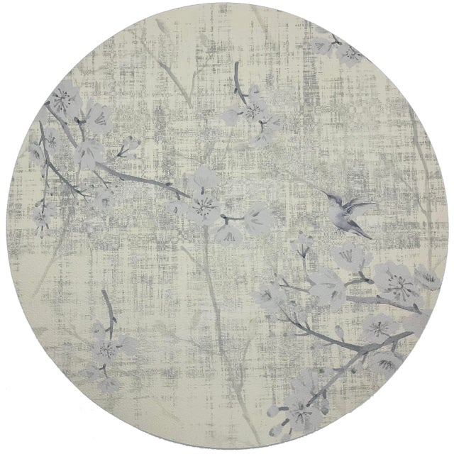 "Asian Nicolette Mayer Blossom Fantasia Ivory 16"" Round Pebble Placemat, Set of 4 For Sale - Image 3 of 3"