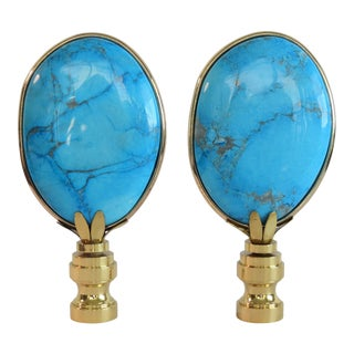 Large Turquoise Finials in 14 Kt Banded Gold by C. Damien Fox- a Pair. For Sale