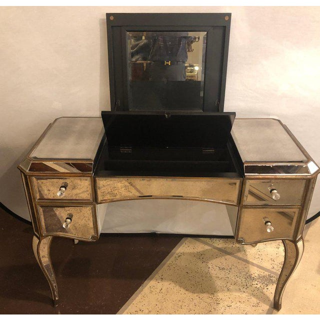 Hollywood Regency Style Mirror Flip Top Vanity Desk or Dressing Table For Sale In New York - Image 6 of 12