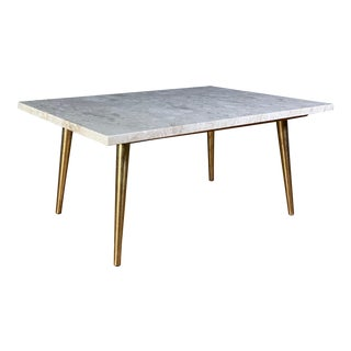 Mid-Century Travertine and Brass Coffee Table, Usa For Sale