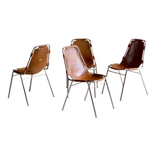Les Arcs Leather Tan Dining Chairs, 1970s - Set of 4 For Sale