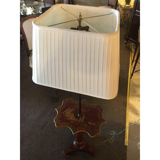Red Chinoriserie Decorated Table Lamp With Custom Shades For Sale - Image 10 of 11