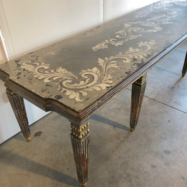 Beautiful hand Painted dining table. This piece is brand new. It has the perfect amount of distressing and beautiful.