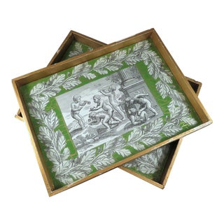 1940s Hollywood Regency Gilt & Reverse Painted Trays - a Pair For Sale