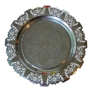 Art Deco Round Chrome Serving Tray For Sale