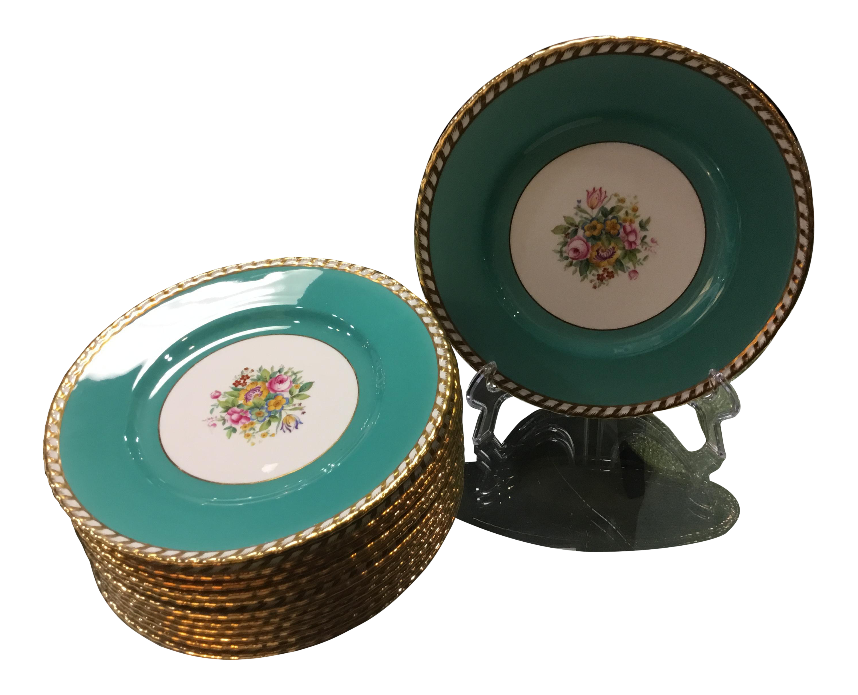 1930s Minton Turquoise Plates - Set of 12  sc 1 st  Chairish : used dinnerware - pezcame.com