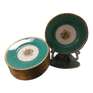 1930s Minton Turquoise Plates - Set of 12