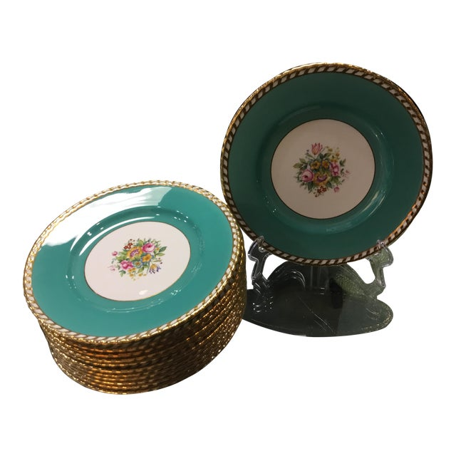 1930s Minton Turquoise Plates - Set of 12 For Sale