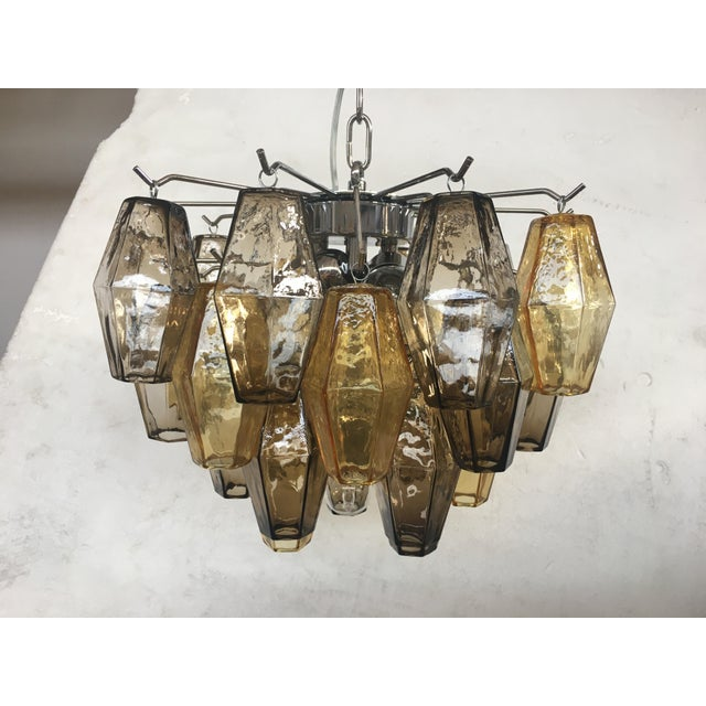 """Italian """"Poliedro"""" Amber and Fume Chrome Metal Frame Murano Glass Chandelier For Sale - Image 11 of 11"""