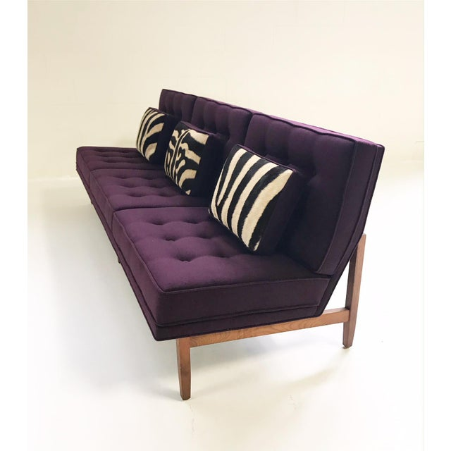 Florence Knoll Forsyth Vintage Florence Knoll Sofa Restored in Loro Piana Cashmere With Custom Zebra Hide Pillows For Sale - Image 4 of 13