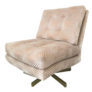 "Milo Baughman ""Steve Spinner"" Armless Swivel Lounge Chair For Sale"