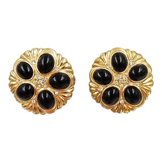 1980s Pierre Balmain Goldtone Cabochon Faux-Onyx Earrings For Sale