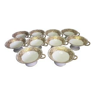 Antique Limoges T&V France Gold Trim Tea Cups - Set of 10 For Sale