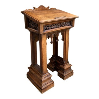Antique Late 19th Century French Carved Oak Podium Table Top Lectern Gothic Liturgical Bible Box For Sale