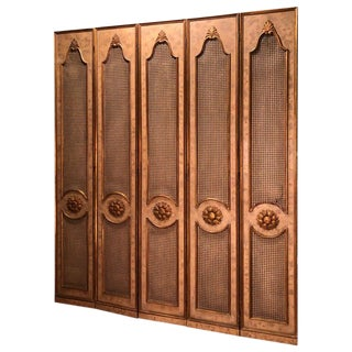French Five-Paneled Gilt Folding Screen For Sale