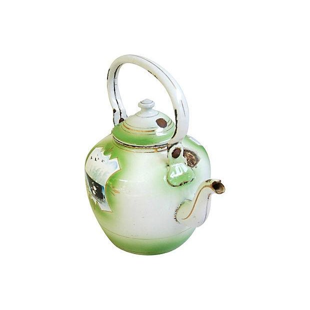 Enamel Early 1900s Hand-Painted French Country Tea Kettle Pot For Sale - Image 7 of 9