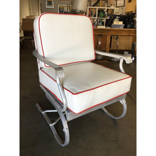 Metal Mid-Century Aluminum Springer Rocking Chair For Sale - Image 7 of 7