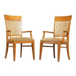 """Ethan Allen """"New Impressions"""" Maple Pair Slat Back Armchairs For Sale"""