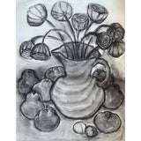 Image of Vintage Charcoal Still Life Drawing For Sale