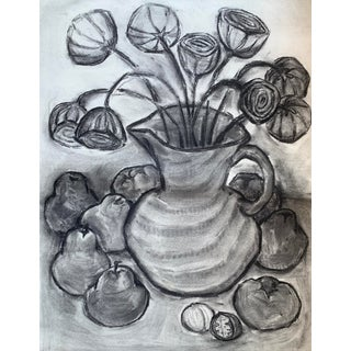 Vintage Charcoal Still Life Drawing For Sale