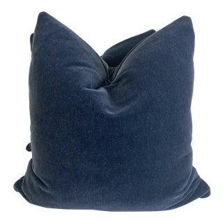 """Denim Blue Mohair 22"""" Pillows-A Pair For Sale"""