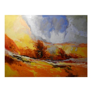 """""""Serene"""" Marigold Brush Field, Expressionist Oil Painting For Sale"""