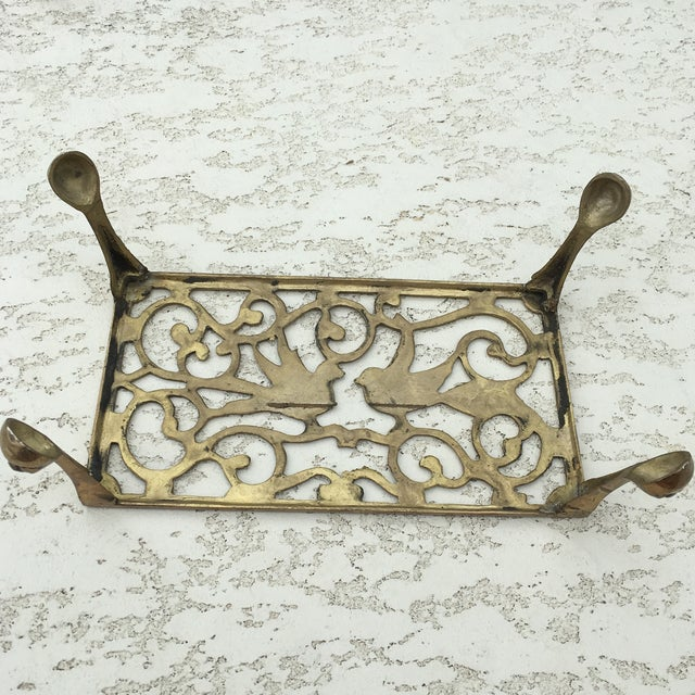 Mid-Century Solid Brass Bird Motif Plant Stand - Image 9 of 11