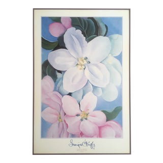"Georgia O'Keeffe Vintage 1995 Lithograph Print Framed Museum Poster "" Apple Blossoms "" 1930 For Sale"
