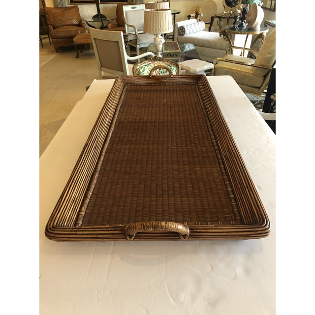 1970s Wood Wicker Rattan and Seagrass Handled Gallery Tray For Sale - Image 5 of 11