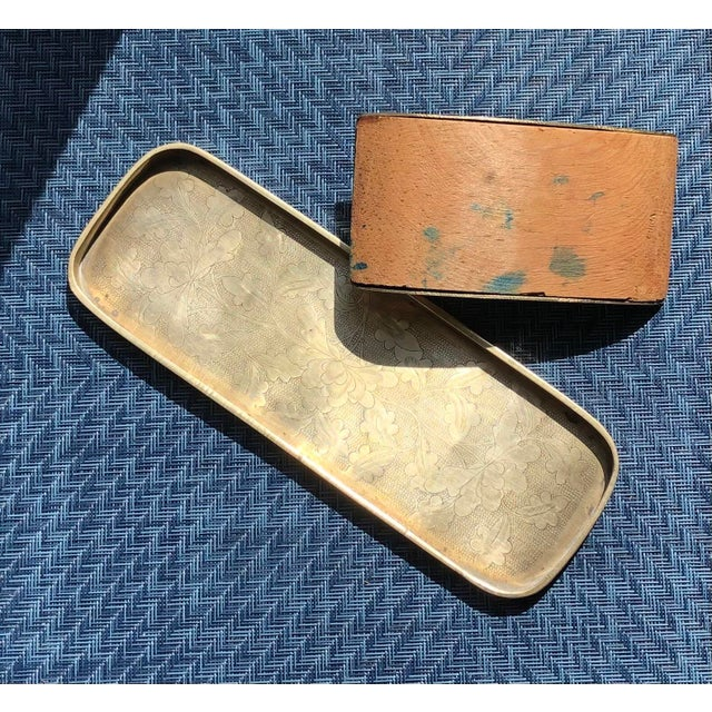 Hollywood Regency Vintage Late 20th Century Brass & Wood Ink Rocker / Blotter and Pen Tray - 2 Piece Set For Sale - Image 3 of 6