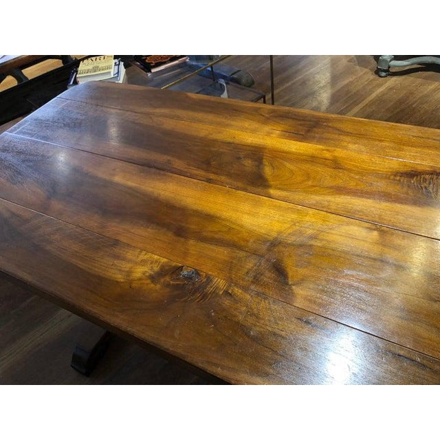 Late 19th Century 19th Century French Provincial Circassian Walnut Table With Trestle Base For Sale - Image 5 of 6