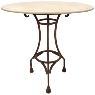Wrought Iron Bistro Table With Stone Top For Sale
