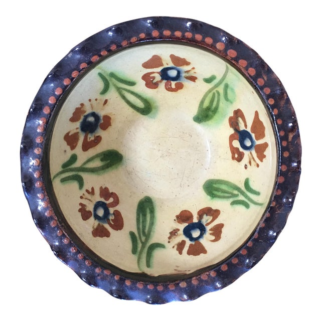 19th C. French Jaspe Hand-Painted Bowl For Sale