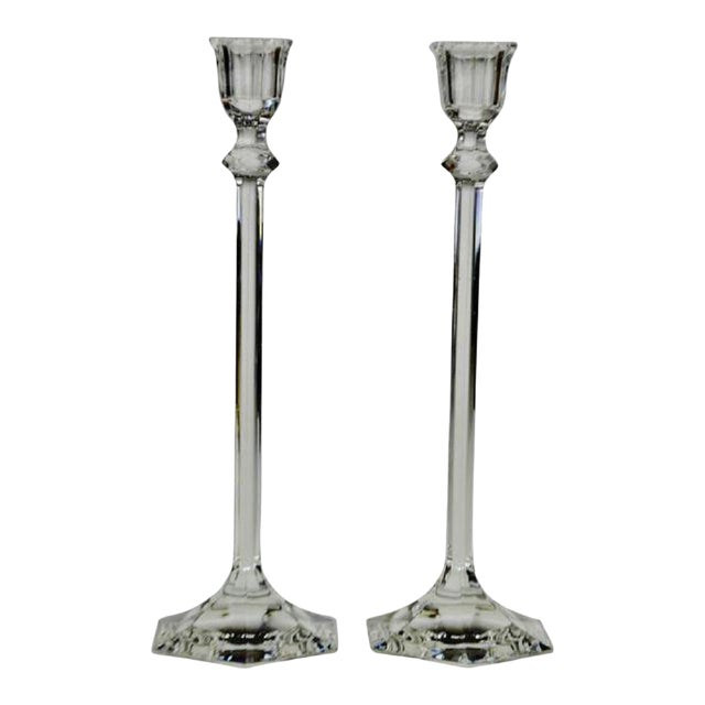 Vintage Glass Candlesticks - a Pair For Sale