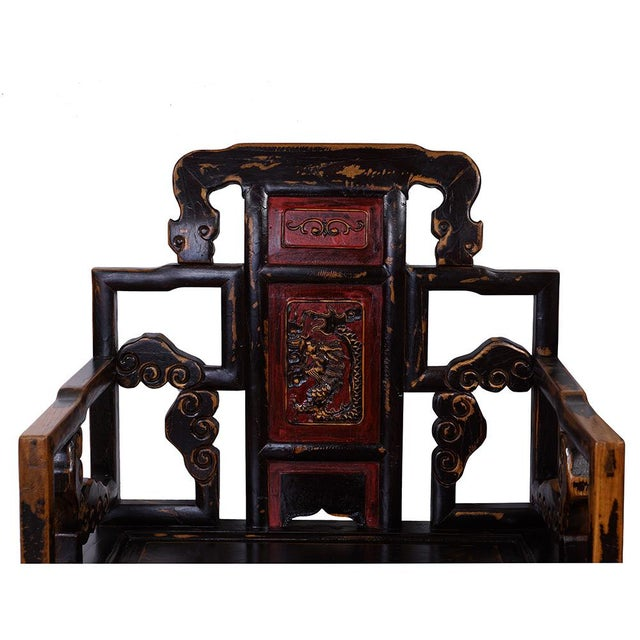 Antique Chinese Carved Official Arm Chairs & Tea Table - Set of 3 For Sale - Image 4 of 13