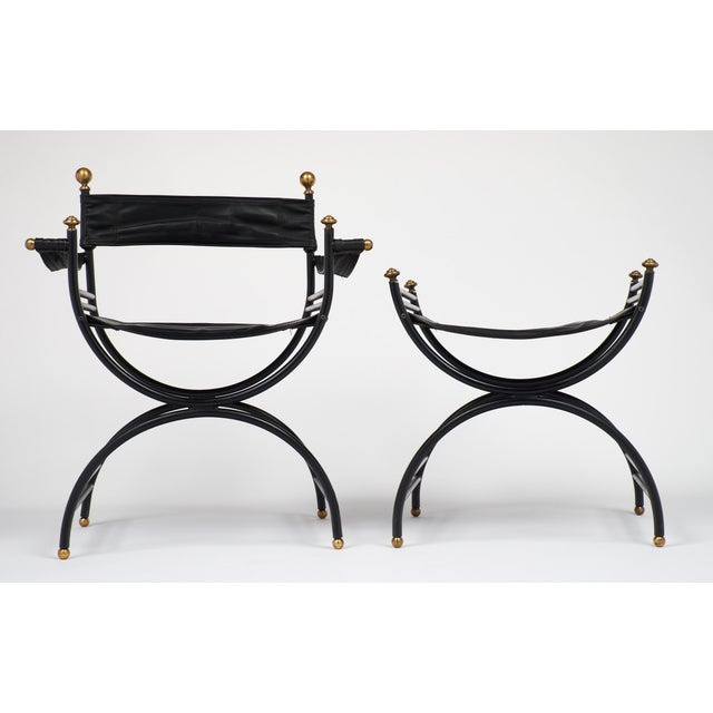Jacques Adnet Style Armchair with Stool - Image 7 of 11