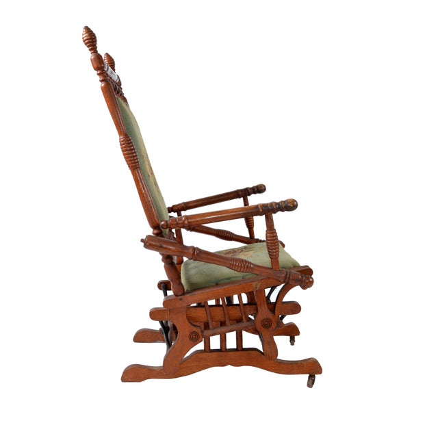 Antique Rocking Chair Hand Carved & Turned Walnut Wood Needlepoint Upholstery For Sale - Image 4 of 13