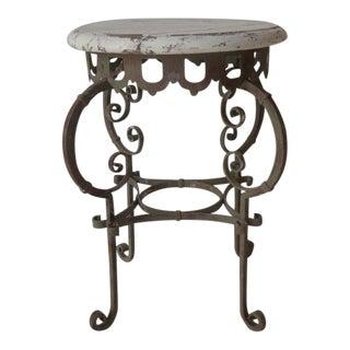 Vintage Mediterannean Iron & Wood Table For Sale