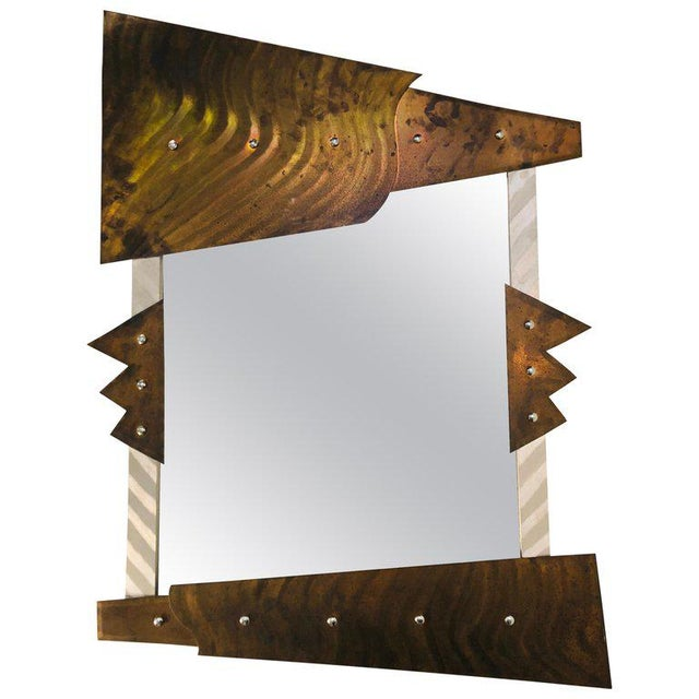 Gray Modern Metal Wall Mirror For Sale - Image 8 of 8