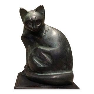 20th Century Figurative Cast Iron Cat Sculpture on Wood Pedestal For Sale