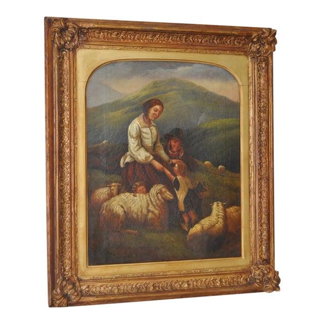 "19th Century European Oil Painting ""Shepherd Family"" - Image 1 of 11"