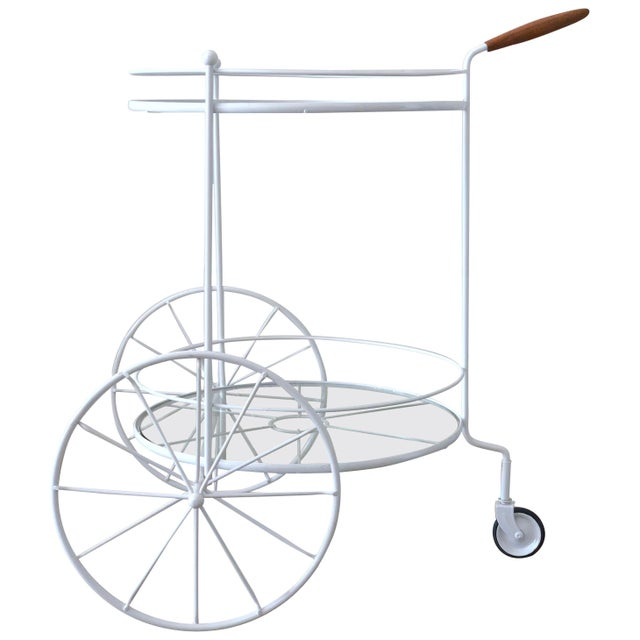 White Vintage Indoor Outdoor Patio Bar Cart with Wooden Handle For Sale - Image 13 of 13