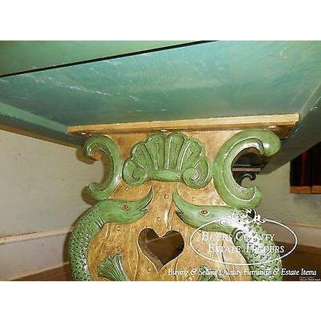 Antique Carved Serpent Base Renaissance Style Painted Splay Leg Dining Table For Sale - Image 10 of 13