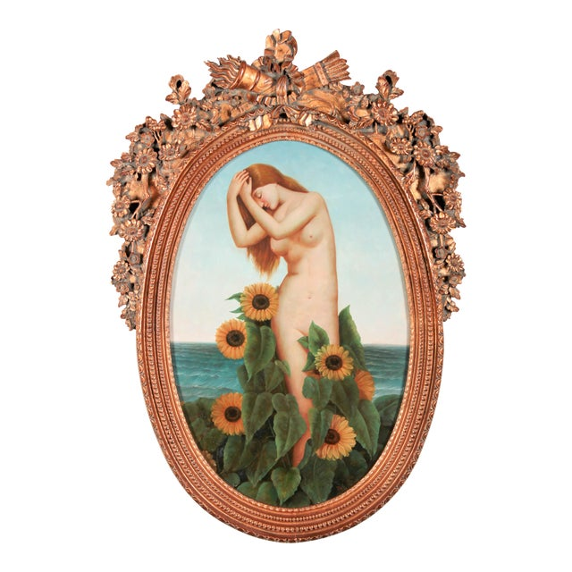 Art Nouveau Nude With Sunflowers For Sale