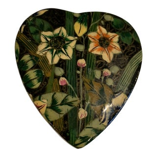 1980s Decoupage Heart Box For Sale