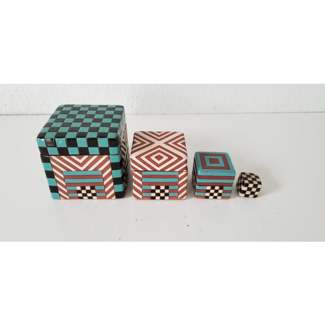 Postmodern Artistic Stacking Decorative Ceramic Boxes - Set of 4 For Sale - Image 9 of 9