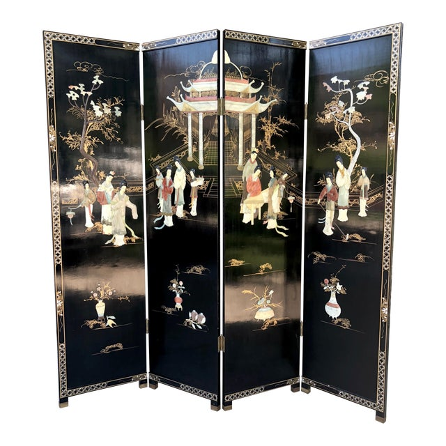 1940's Asian Jade and Black Lacquer Coromandel Room Divider For Sale