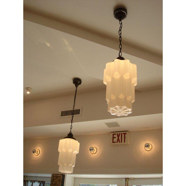 1920s 1920s Deco Era Milk Glass Hanging Light For Sale - Image 5 of 6