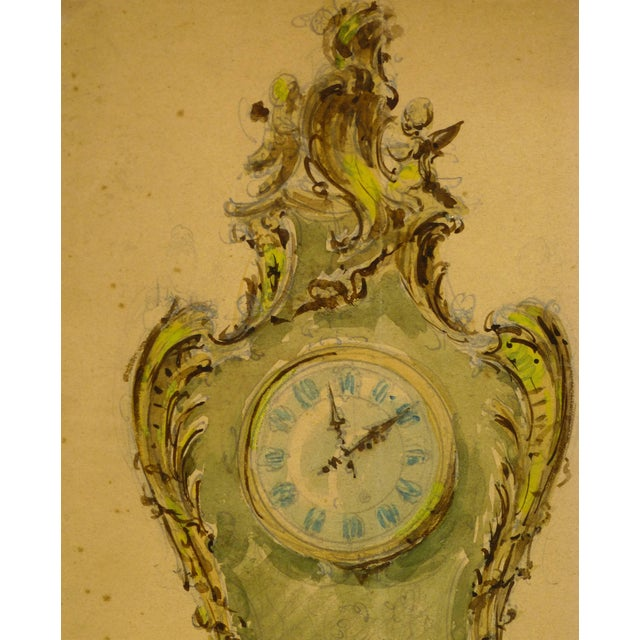 French watercolor and pencil of ornate clock, circa 1930. Original artwork on paper displayed on a white mat with a gold...