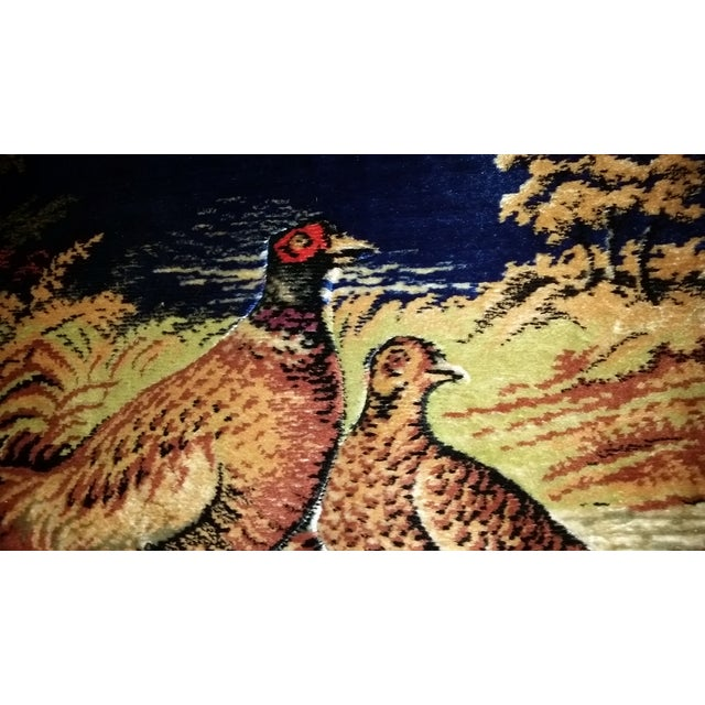 Vintage Pheasant Framed Rug Wall Art For Sale In Cleveland - Image 6 of 7